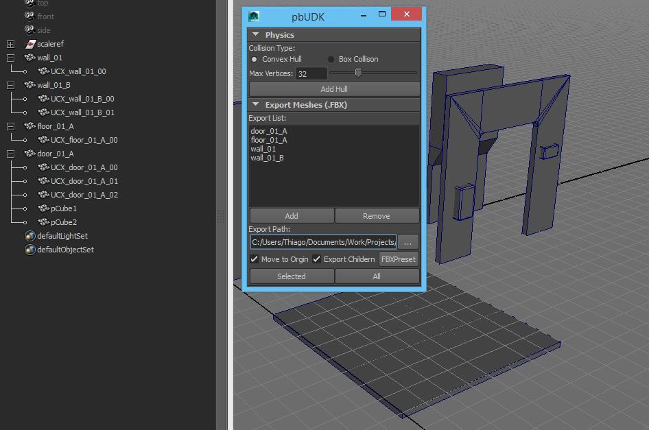 thiagoklafke / Maya > Unreal4 modular kit workflow